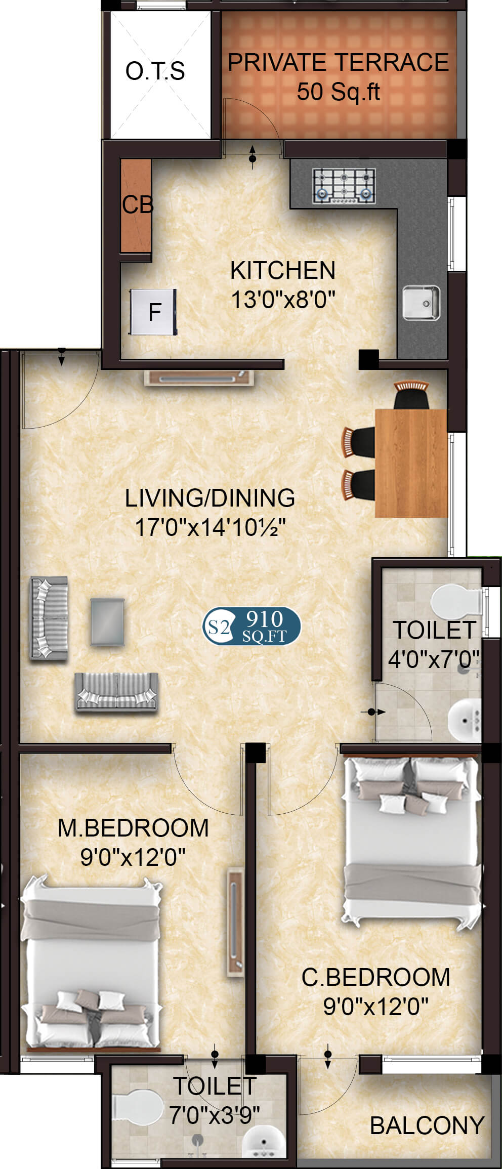 Aspire S2 2BHK 910 - Flats in OMR