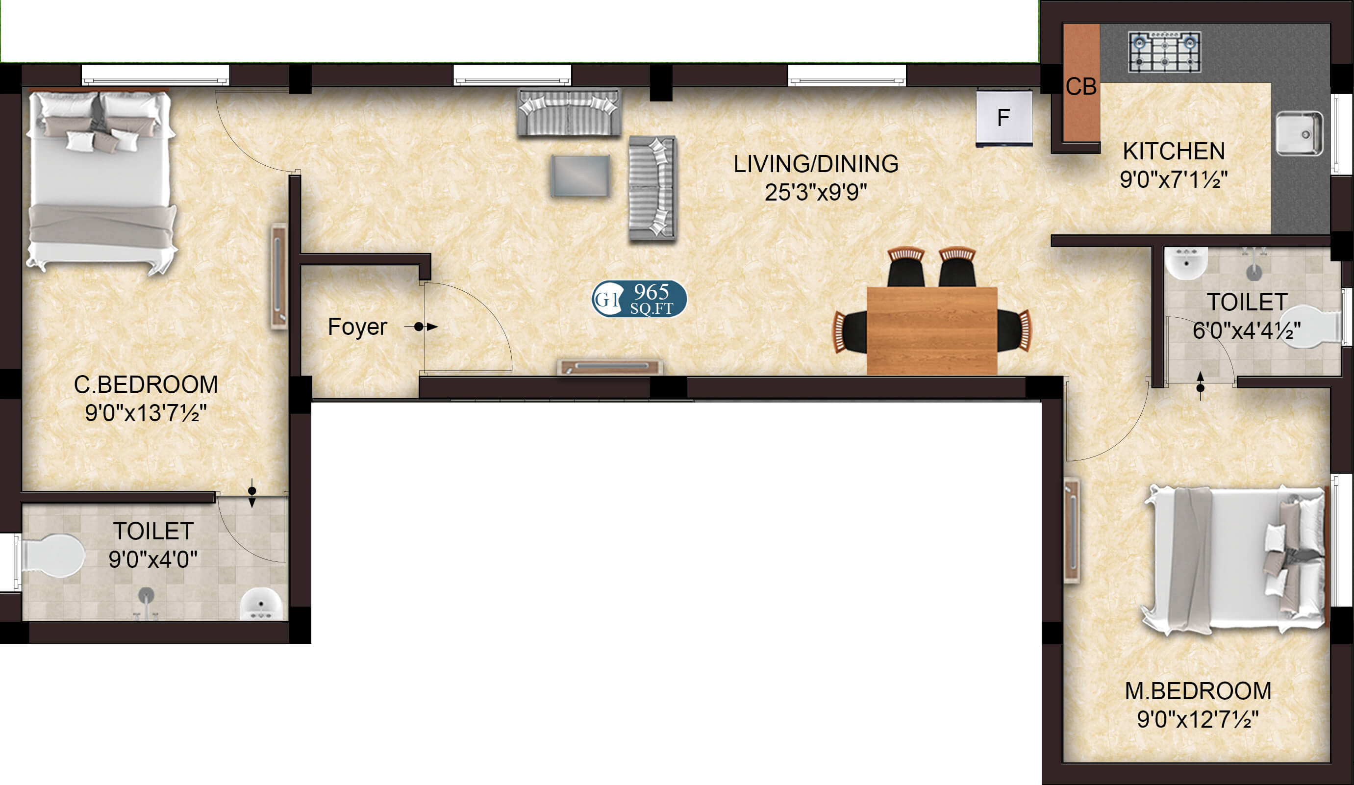 Happy G1 2BHK 965 - Apartments for Sale in OMR