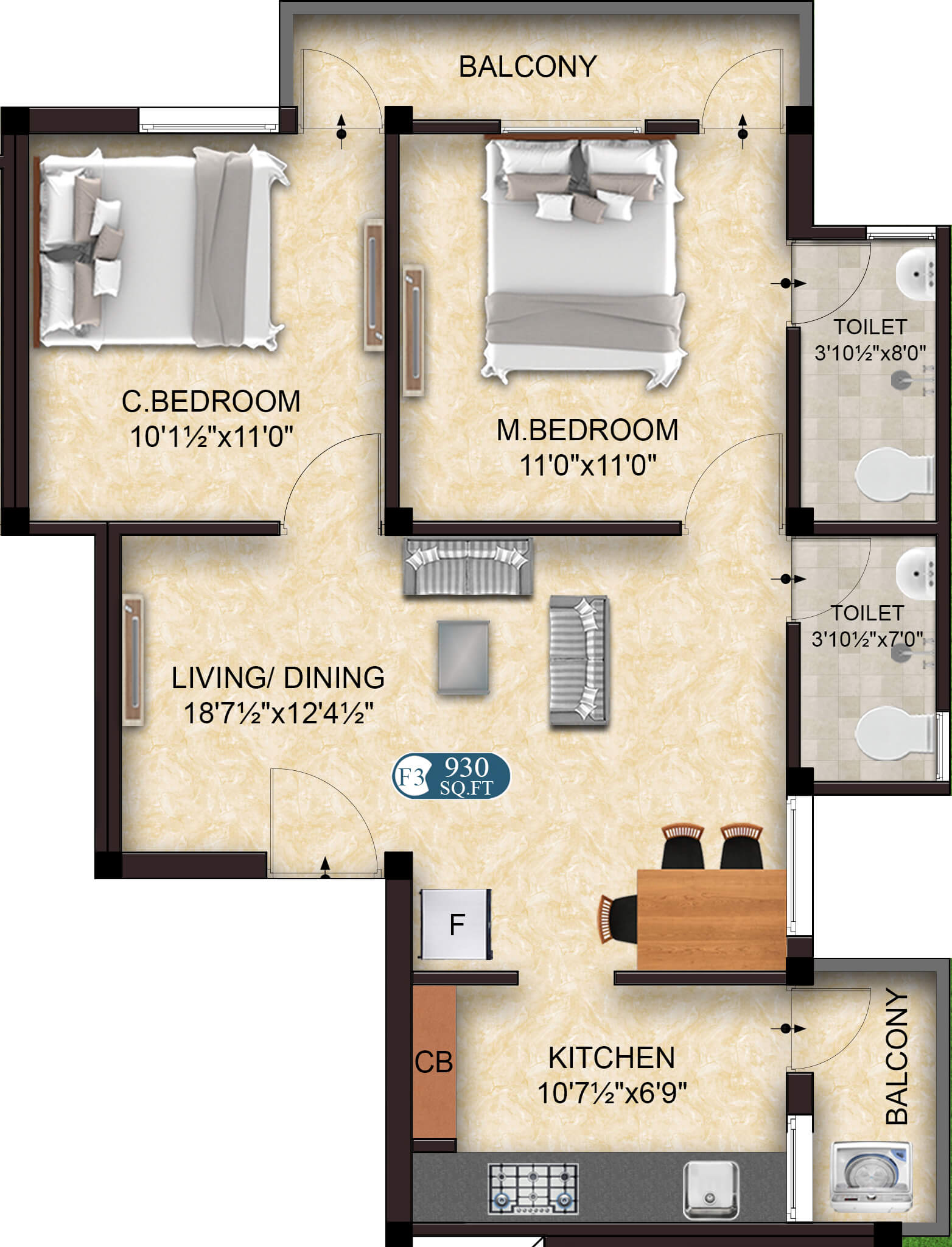 Legend F3 2BHK 930 - Flats for Sale in OMR