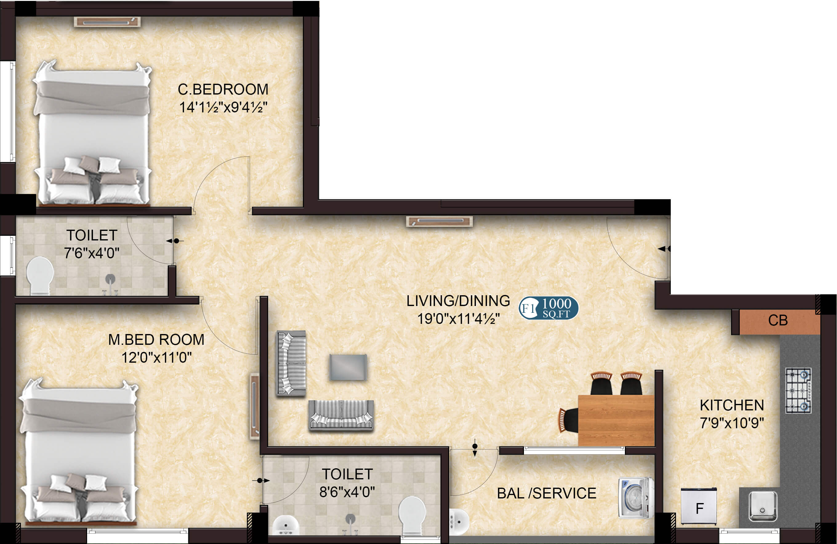 Glow F1 2BHK 1000 - home in OMR