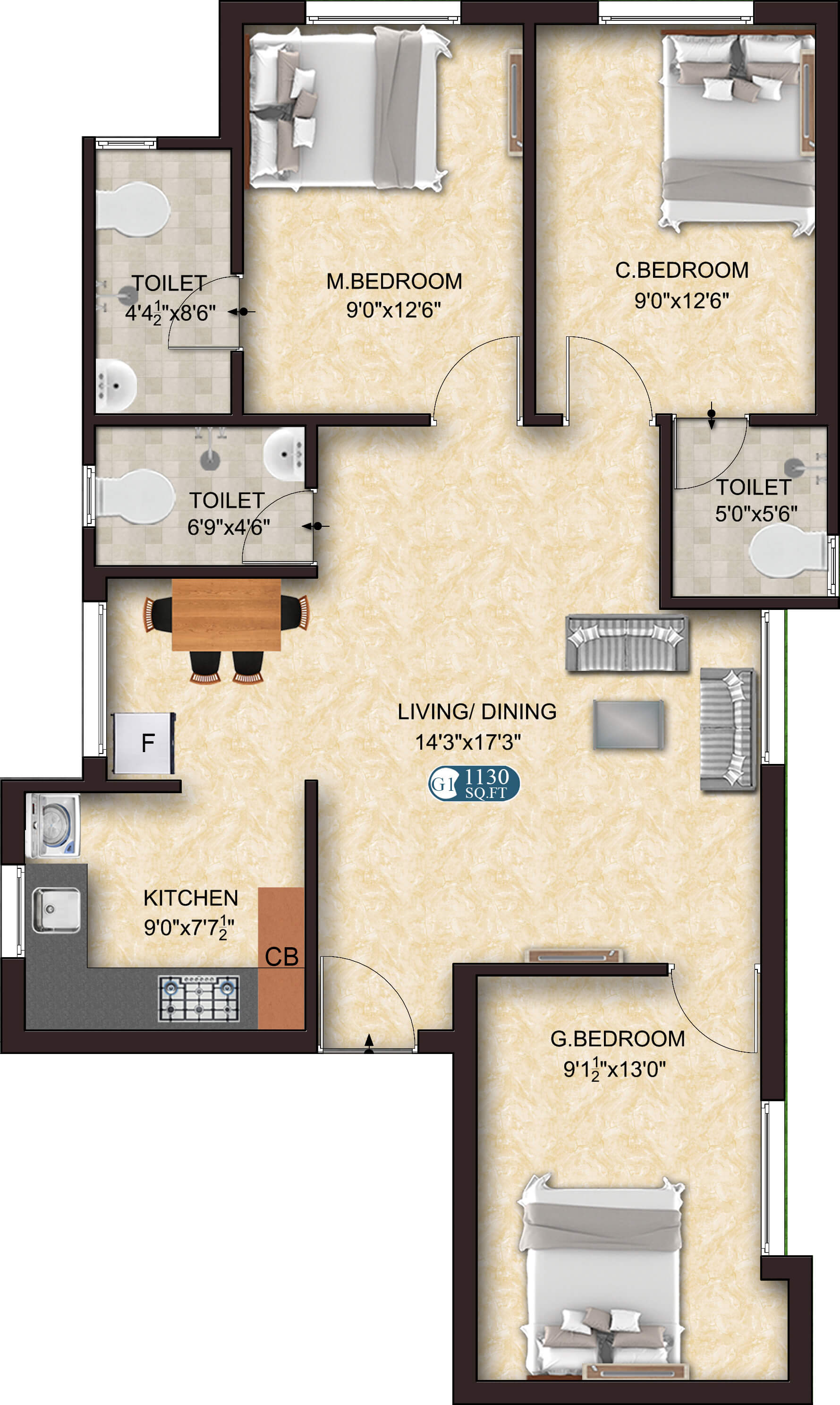 Style G1 3BHK 1130 - new flats for sale in sholinganallur