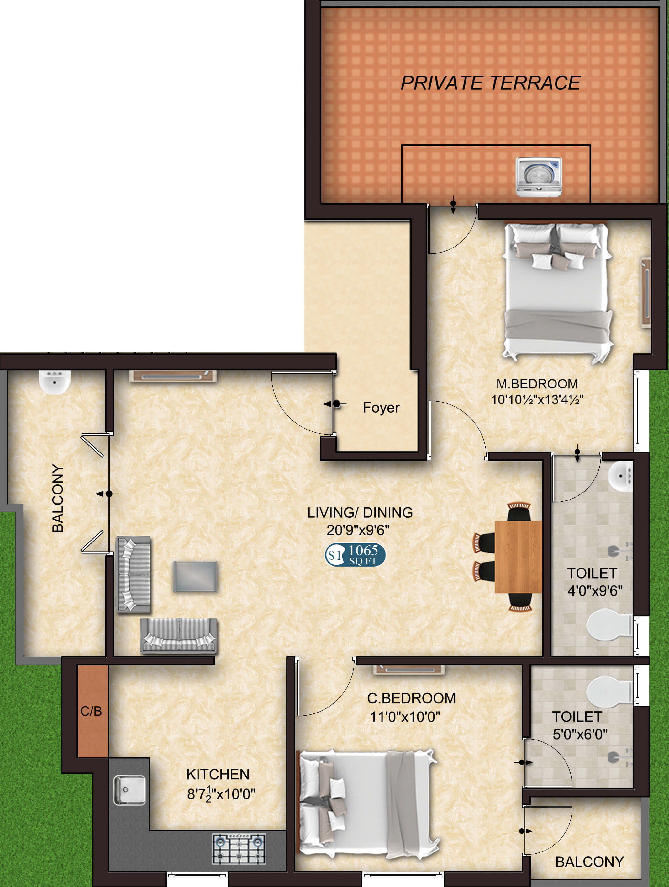 Style S1 2BHK 1065 - budget flats for sale in OMR